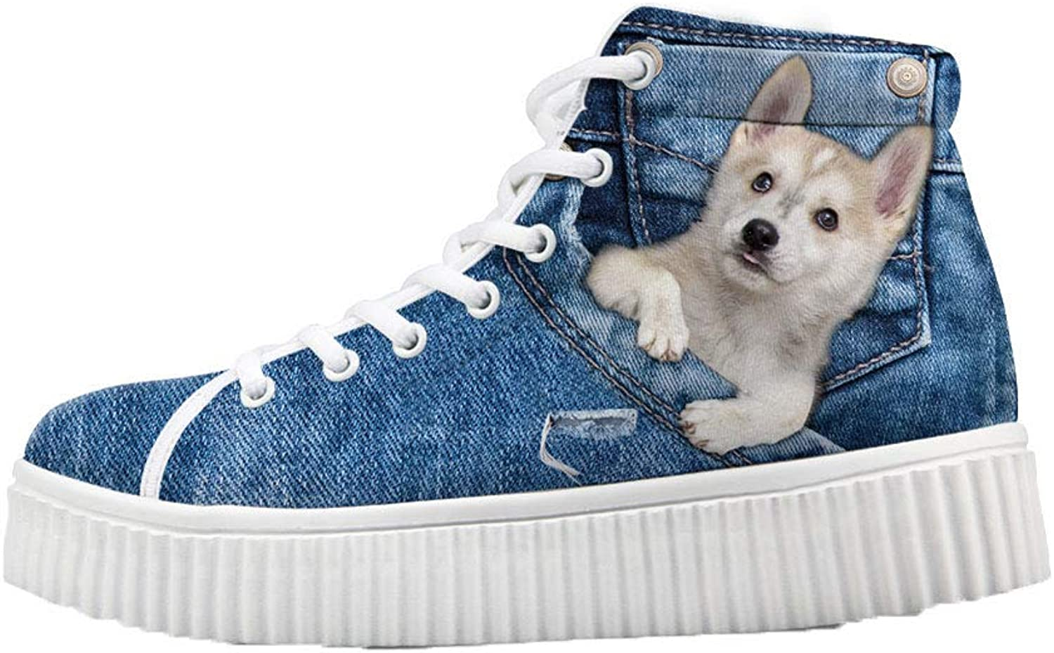 coloranimal Fashion Women High Top Platform shoes Cool 3D Cat Dog Height Increasing Sneakers