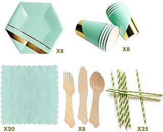 مجموعة صغيرة لحفلات العزوبية مكونة من 8 مجموعات ألوان - 69 قطعة تتضمن لوحة أواني طعام أنيقة للاستعمال مرة واحدة مع أكواب و...
