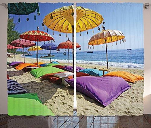 """Ambesonne Balinese Curtains, Pristine Beach Bathed by The Bali Sandy Seashore Daytime Umbrellas Pillows Leisure, Living Room Bedroom Window Drapes 2 Panel Set, 108"""" X 84"""", Multicolor"""