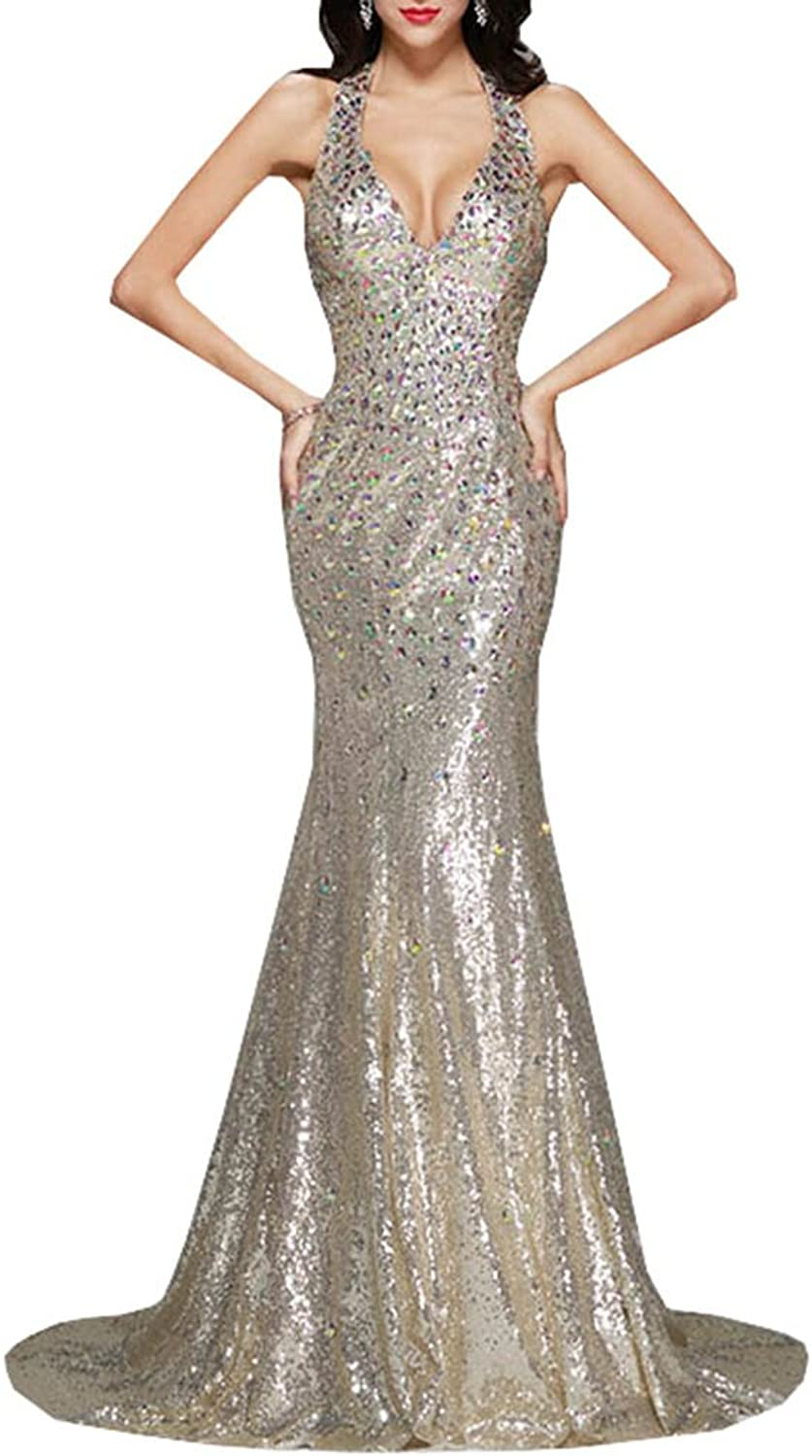 Lavaring Women's Deep V Neck Crystal Sequins Tulle Mermaid Long Evening Dress