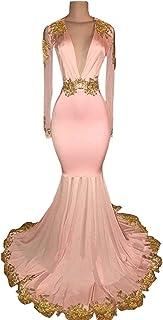 73de42a8bd4c Graceprom Women's Black Long Sleeves Prom Dress Gold Appliques Mermaid  Evening Dress