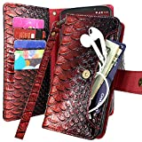 LG Aristo 2 Plus Case, Harryshell 5 Card Slot & Pocket Kickstand PU Leather Flip Wallet Case Cover Wristlet for LG Tribute Dynasty/Fortune 2 / K8 2018 / Rebel 3 LTE/Zone 4 / Phoenix 4 (Red)