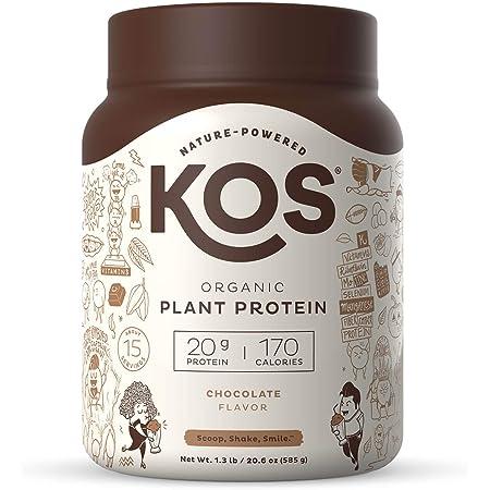 KOS Organic Plant Based Protein Powder, Chocolate - Delicious Vegan Protein Powder - Keto Friendly, Gluten Free, Dairy Free & Soy Free - 1.3 Pounds, 15 Servings
