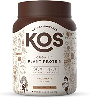 KOS Organic Plant Based Protein Powder, Chocolate - Delicious Vegan Protein Powder - Gluten Free, Dairy Free & Soy Free - ...