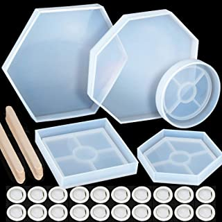 5 Pack Resin Molds, LEOBRO Geometric Coaster Epoxy Molds with 10 PCS Wood Craft Sticks and 20 PCS Disposable Finger Cots, Silicone Casting Molds for Coaster, Bowl Mat, Home Decoration