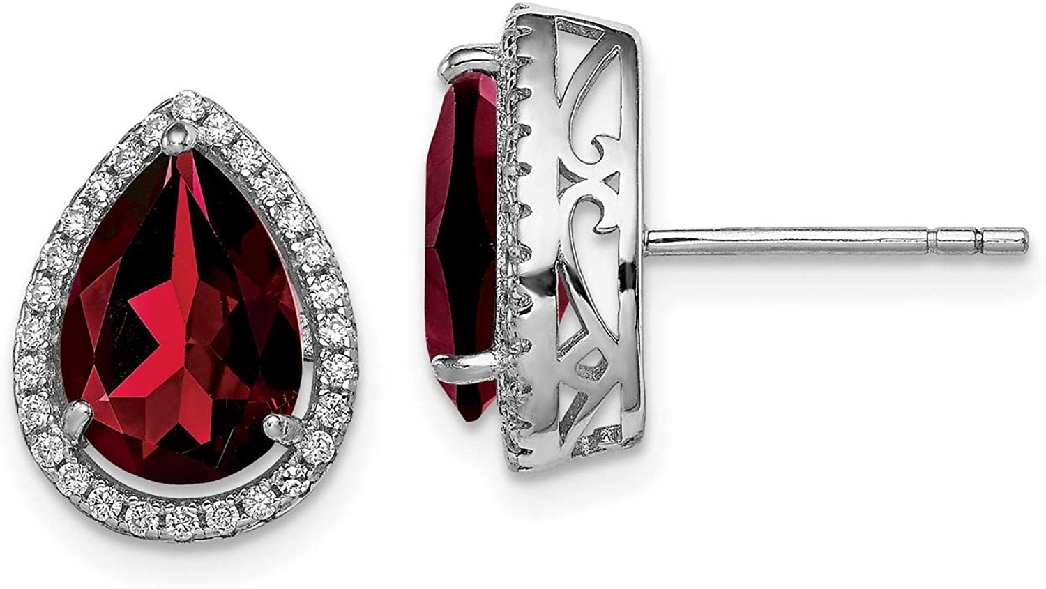 Sterling Silver Polished Garnet and Los Angeles Mall New popularity 14x11 Earrings mm CZ Post