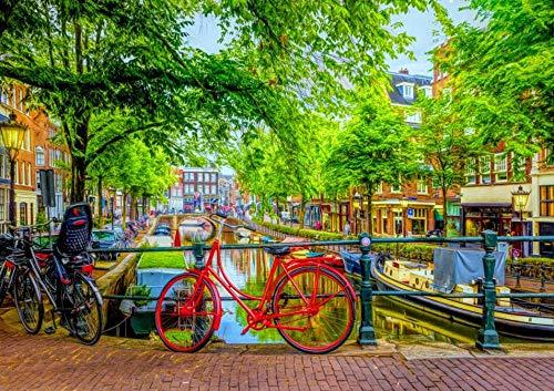 Puzzel Voor Volwassenen 1000 Stukjes, Rode Fiets, De Rivier Groene Boom Van Amsterdam, 1500/1000/500 Stukjes, Puzzel Spelletjes Woondecoratie Cadeaus