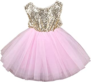 Toddler Girl Baby Lace Flower Sequin Tutu Dress Tulle Pageant Wedding Party Formal Girls Dresses pink02 6-12M