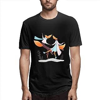 Zoomu Dancing FoxMen's Short Sleeve Standard T-Shirt Slim-fit Short-Sleeve Slub Henley T-Shirt