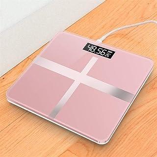 Báscula de baño Profesional Pantalla LCD Báscula de Piso Carga USB Vidrio Báscula electrónica Inteligente Medición Báscula Digital Duradera (Color: A2)