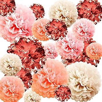 WILLBOND 20 Pieces Valentine s Day Decorations Rose Gold Paper Pom Poms 4 Sizes Metallic Foil Tissue Paper Pom Poms for Party Wedding Birthday Baby Shower Rose Gold Party Decorations