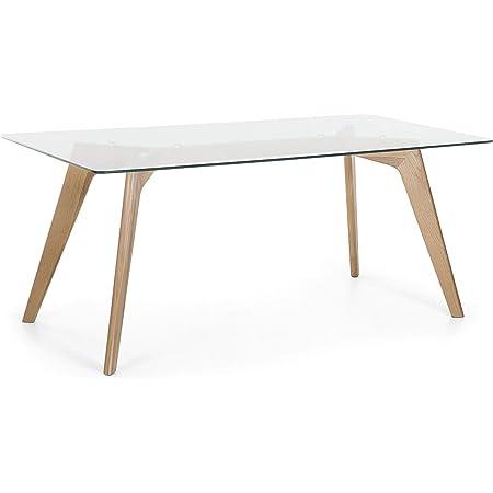 Beliani - Table - Hudson - 180 x 90 cm, en Verre et Bois de Hêtre, Transparent