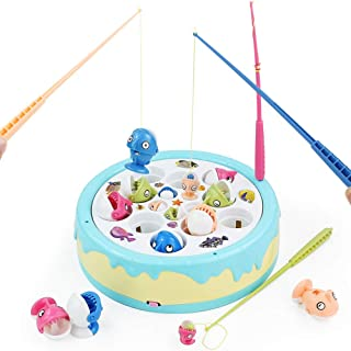Fajiabao Music Fishing Game for Kids Fish Toys Board Games Electronic Cake Rotating with 4 Magnetic Fish Rods Early Eductional Family Childhood Indoor Toy Birthday Gifts for 3+ Years Old Boys Girls