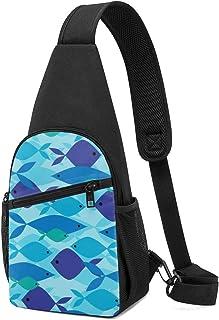 Bandolera con patrón de pez superpuesta, mochila ligera para el hombro, bolsa cruzada, bolsas de viaje, senderismo, para h...