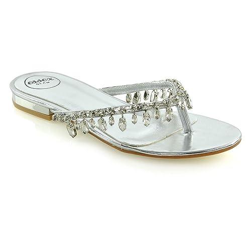 b87fae2e56bc ESSEX GLAM Womens Flip Flop Diamante Sandals Ladies Sparkly Toe Post  Holiday Beach Slider