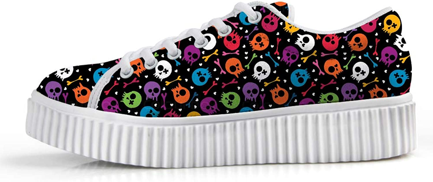 Owaheson Platform Lace up Sneaker Casual Chunky Walking shoes Low Top Women Halloween Rainbow Skulls Bones