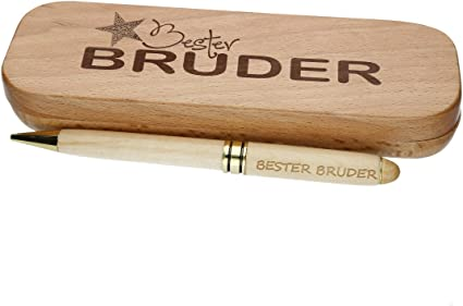 """Holz-Kugelschreiber mit Gravur /""""Bester Onkel/"""" in Geschenk-Schachtel Geschenkidee"""