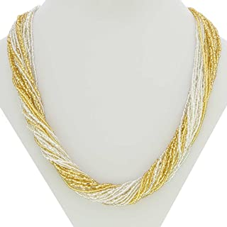 GlassOfVenice Murano Glass Gloriosa 24 Strand Seed Bead Necklace - Gold and Silver