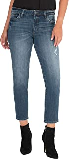 KUT from the Kloth Women's Reese High-Rise Straight Leg Cropped Jeans in Enterprise