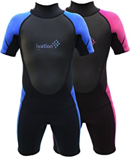 Ivation Kids Wetsuit - 3mm Thickness Premium Neoprene Short Youth Swim Wet Suit - Back Zipper Assist & Full UV Sun Protection
