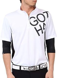 [ガッチャ ゴルフ] GOTCHA GOLF ポロシャツ DRY ビッグロゴ フェイクレイヤード ハーフジップ シャツ 202GG1210