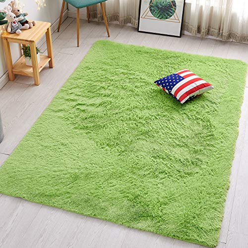 PAGISOFE Lime Green Fluffy Shag Area Rugs for Bedroom 5x7, Soft Fuzzy Shaggy Rugs for Girls Bedroom Kids Room Carpet Furry Dorm Rug