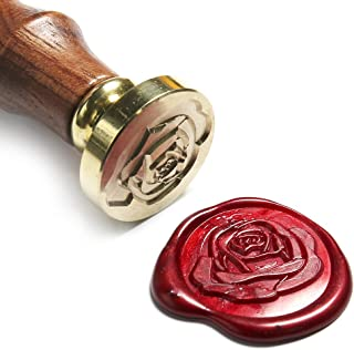 UNIQOOO Art & Crafts Romance Rose Wax Seal Stamp, Great for Embellishment of Envelope, Post Card, Snail Mail, Wedding Invitations, Wine Packages, Gift Decoration, etc-Gift Idea for Artistic Types