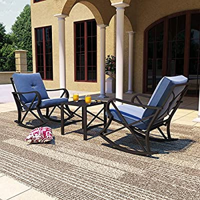 PatioFestival Outdoor Patio Conversation Sectional Set Patio Furniture Set Modern Loveseat with Cushions,Coffee Table, Metal Frame for Outdoor Poolside Backyard Lawn