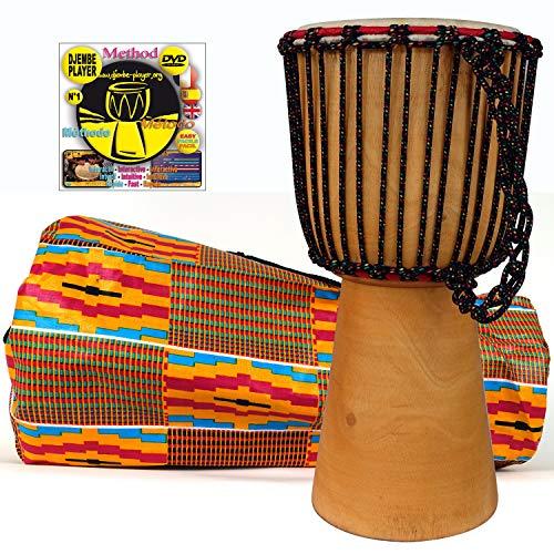 Djembe voor kinderen van 21 cm Diam. x 40 cm (40 cm hoog) + beschermhoes + DVD Djembe speler (Engels). Hoge kwaliteit Mali kinderen percussie djembe drum. Fair trade traditionele handgemaakt. geselecteerde geitenhuid