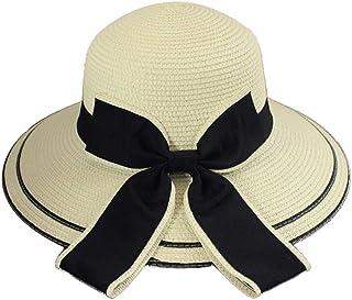 ZDDAB女性のビーチの麦わら帽子、夏の日の保護日麦わら帽子、ワイドエッジの女性海辺の日の保護帽子 (色 : ホワイト)