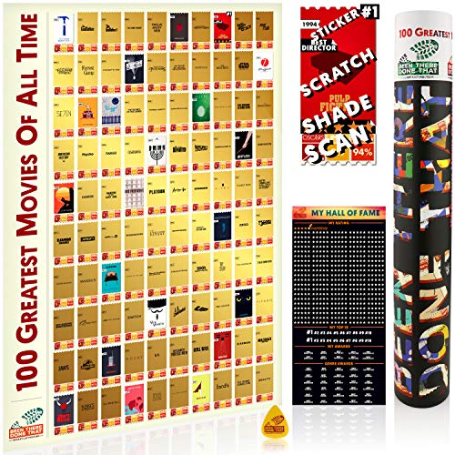 100 Greatest Movies Scratch Off Poster | Interactive Movie Posters + Rank&Rate | Bucket List Gifts Movie Theater Room Decor Living Room Decor Bedroom Kitchen Wall Decor Wall Art Posters Cool Posters