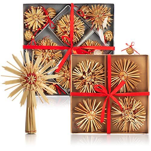 com-four® 69-teiliges Set Strohsterne - Christbaum-Schmuck aus Stroh - Stroh-Anhänger für den Weihnachtsbaum mit Christbaumspitze - Weihnachtsdekoration