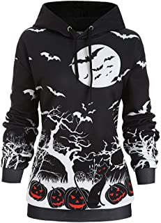 Womens Halloween Pumpkin Face Long Sleeve Slouchy Sweatshirts Pullover