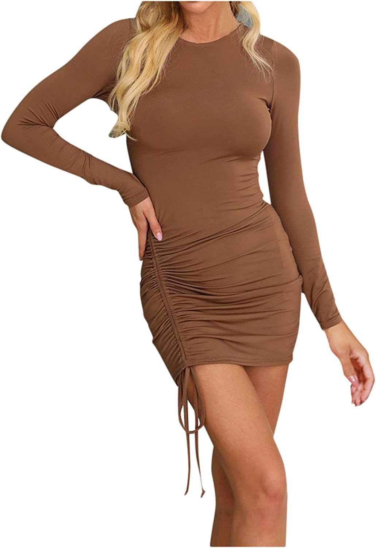 FORUU Women's Cute Dresses,2021 New Spring Summer Sexy Bandage V-Neck Cut Out Ruffle Hem Hip Skirt Long Sleeve Dress