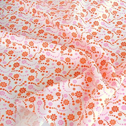 TOLKO Baumwollstoff aus Oeko-Tex Baumwolle | Bunt leuchtende Farben | Kochfeste Baumwoll-Popeline zum Nähen Dekorieren | weiche Meterware Kleiderstoff Dekostoff Bezugsstoff 50cm (Rote Blume Kochfest)