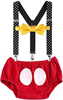 ODASDO Infant Baby Boy 1st 2nd Birthday Cake Smash Outfit Suspender Bloomers Bow Tie Headband Photo Props Set
