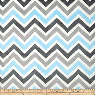 Shannon Fabrics Minky Cuddle Zig Zag Baby Fabric by The Yard, Blue/Silver/Charcoal
