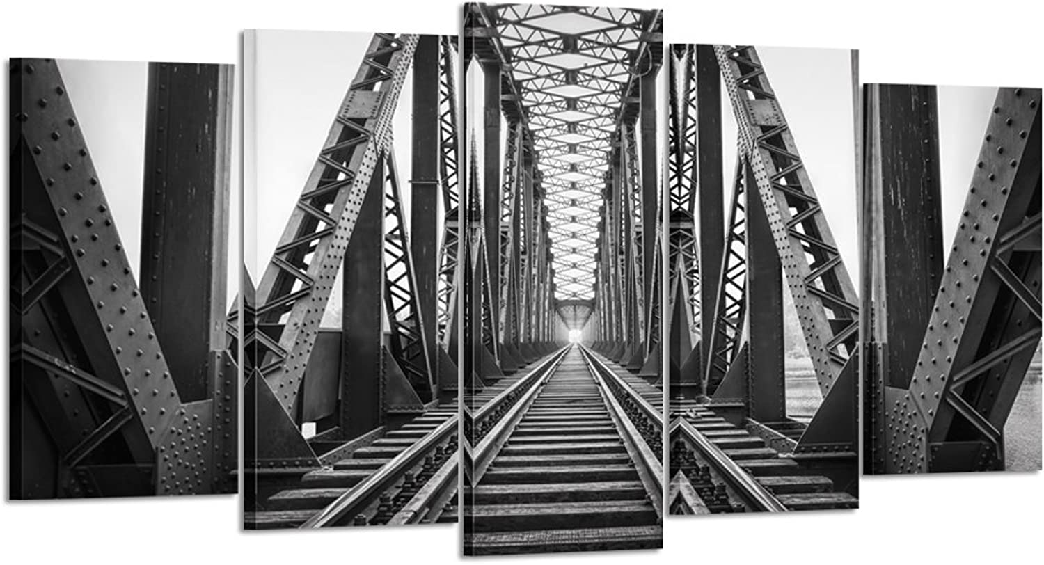 Kreative Arts - 5 Piece Wall Art Decor Black and White Train Tracks Modern Painting HD Picture Canvas Giclee Print Artwork Wall Murals for Living Room Office Decor (Large Size 60x32inch)