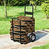 1900 Earth Worth | Firewood Log Cart | Wood Mover-Hauler-Roller | Black