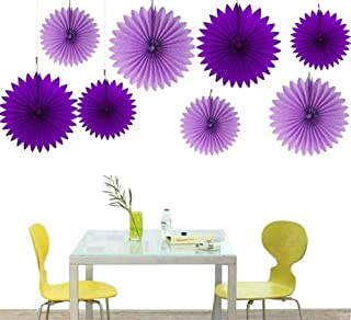 zorpia Decorative Fan - Tissue Paper Fan Collection - Assorted Fans of 10, 16-Inch, 8 Pieces, Assorted Colors