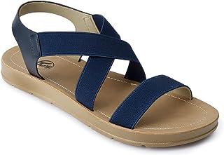 Women Ankle Strap Cute Wide Width Elastic Flat Sandals