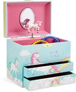 (Unicorn Blue with Rainbow) - JewelKeeper Unicorn and Rainbow Musical Jewellery Box with 2 Pullout Drawers, Somewhere Over The Rainbow Tune