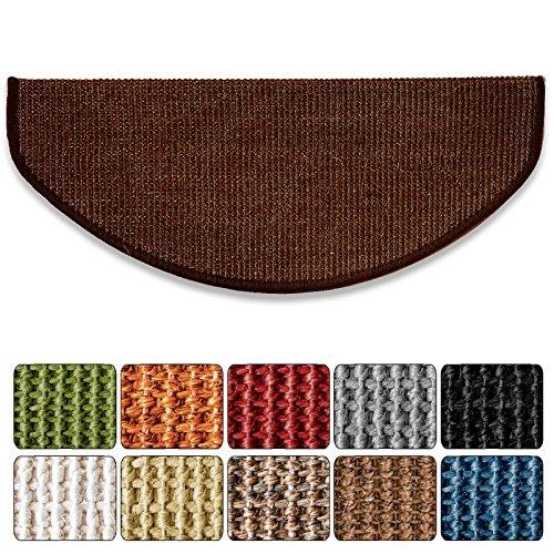 Floordirekt Sisal-Stufenmatte Sylt | Dunkelbraun | Halbrund 65 x 23,5 cm