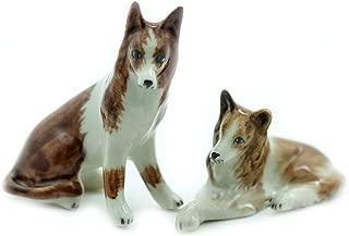 Grandroomchic Dollhouse Animal Miniature Handmade Porcelain Statue Ceramic Decorative 1/24 Scale 2 Collie Dog Figurine Collectibles Gift