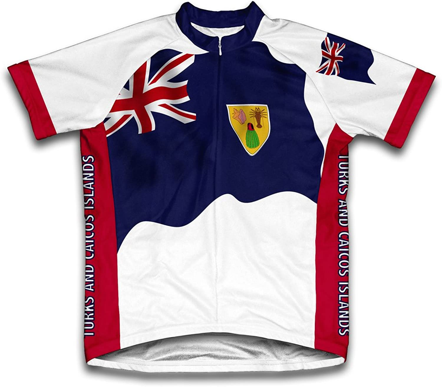 Turks And Caicos Islands Flag Short Sleeve Cycling Jersey for Men