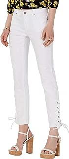 Michael Michael Kors Womens Grommet Laced-Hem Skinny Jeans 0 White