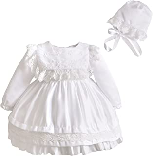 Romping House Baby Girls Christening Long Sleeve Embroidered Organza Satin Dress with Bonnet