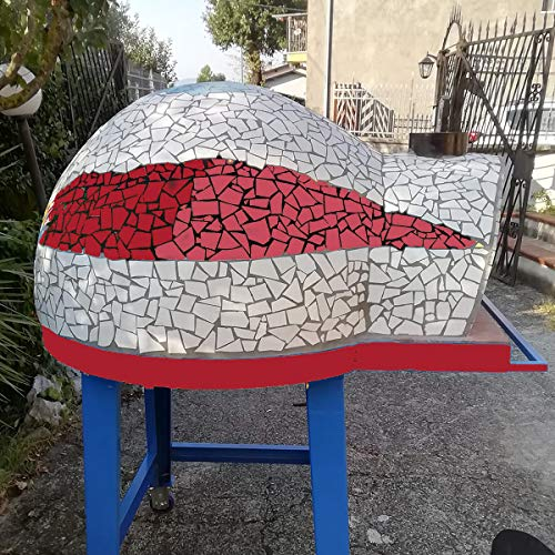 Garden 80 – Horno de leña profesional refractario para jardín exterior de 80 cm – Color rojo (4 pizzas)