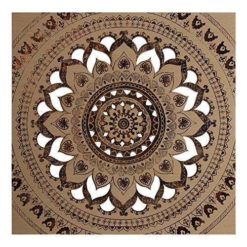 DONREGALOWEB - Cuadro Madera Calada Cuadrado Mandala marrón