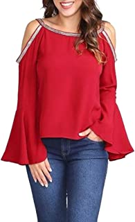 Fashion Women Casual Solid Blouse Sequin Cold Shoulder Flare Sleeve T-Shirt Top